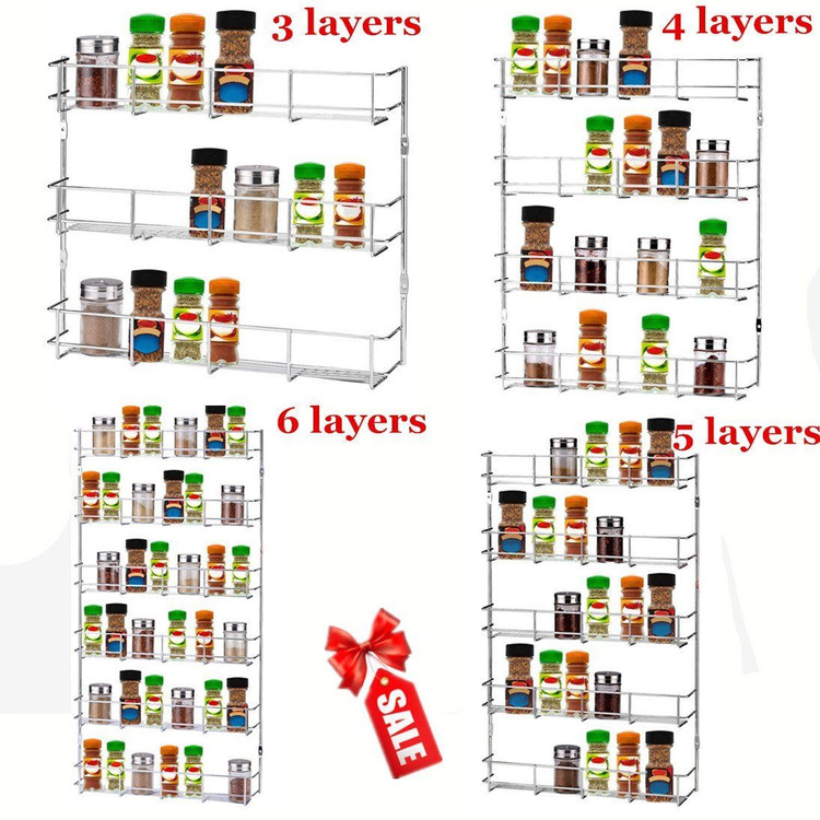 Space-saving 3 Tiers Iron Kitchen Door Wall Mount Storage Cabinet Organizer Seasoning Rack Spice Condiment Holder