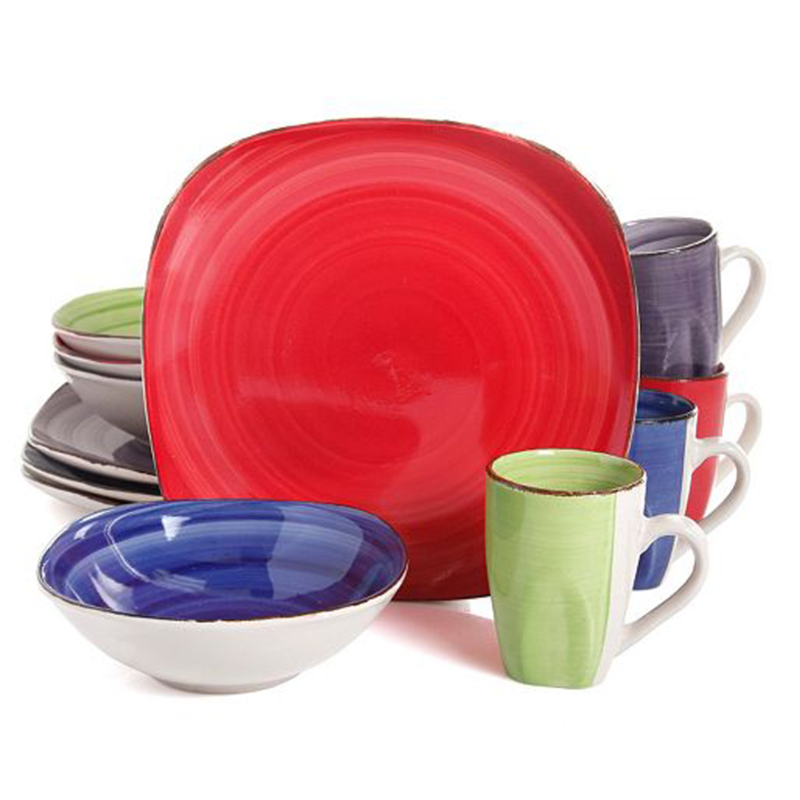 Gibson Color Vibes Stoneware12 Piece Soft Square Dinnerware Set in 4 Assorted Colors