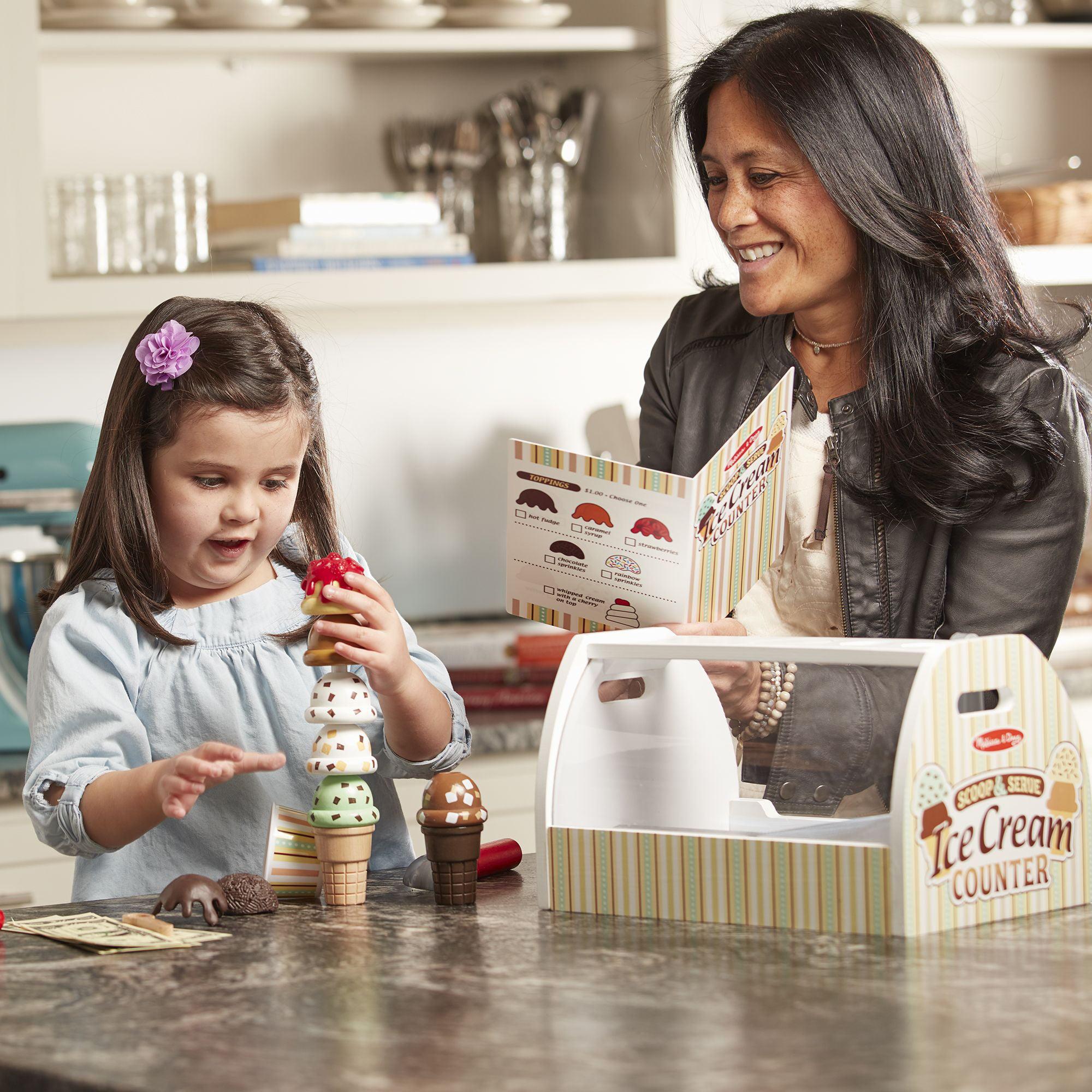 Melissa Doug Wooden Scoop Serve Ice Cream Counter