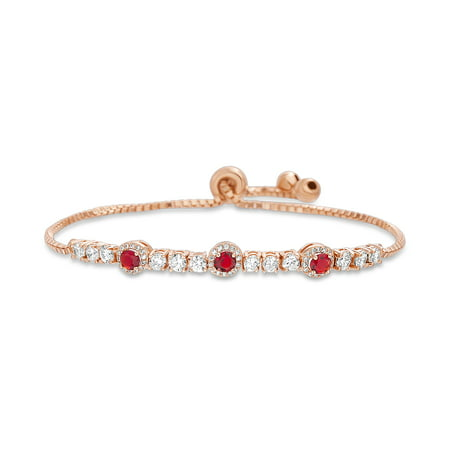 Inspired Sterling Silver Lock - Inspired by You Round Prong Set Simulated Ruby and Cubic Zirconia Adjustable Tennis Style Bridal Bracelet for Women in Rose Gold Plated 925 Sterling Silver