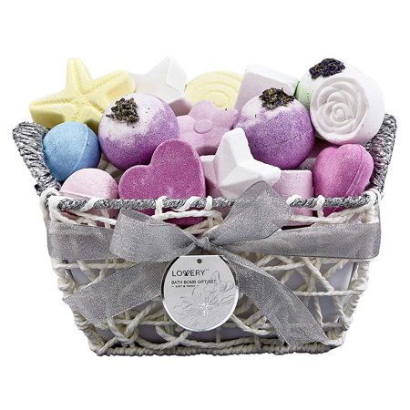 Bath Bomb Gift Basket For Women – 17 Bath Fizzies in Assorted Colors and Shapes - 17 Piece Bath and Body Spa Set