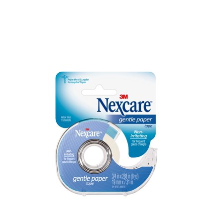 Nexcare Gentle Paper First Aid Tape, From the #1 Leader in U.S. Hospital Tapes, 3/4 in. x 8 yd, White, 1 roll, 1 dispenser