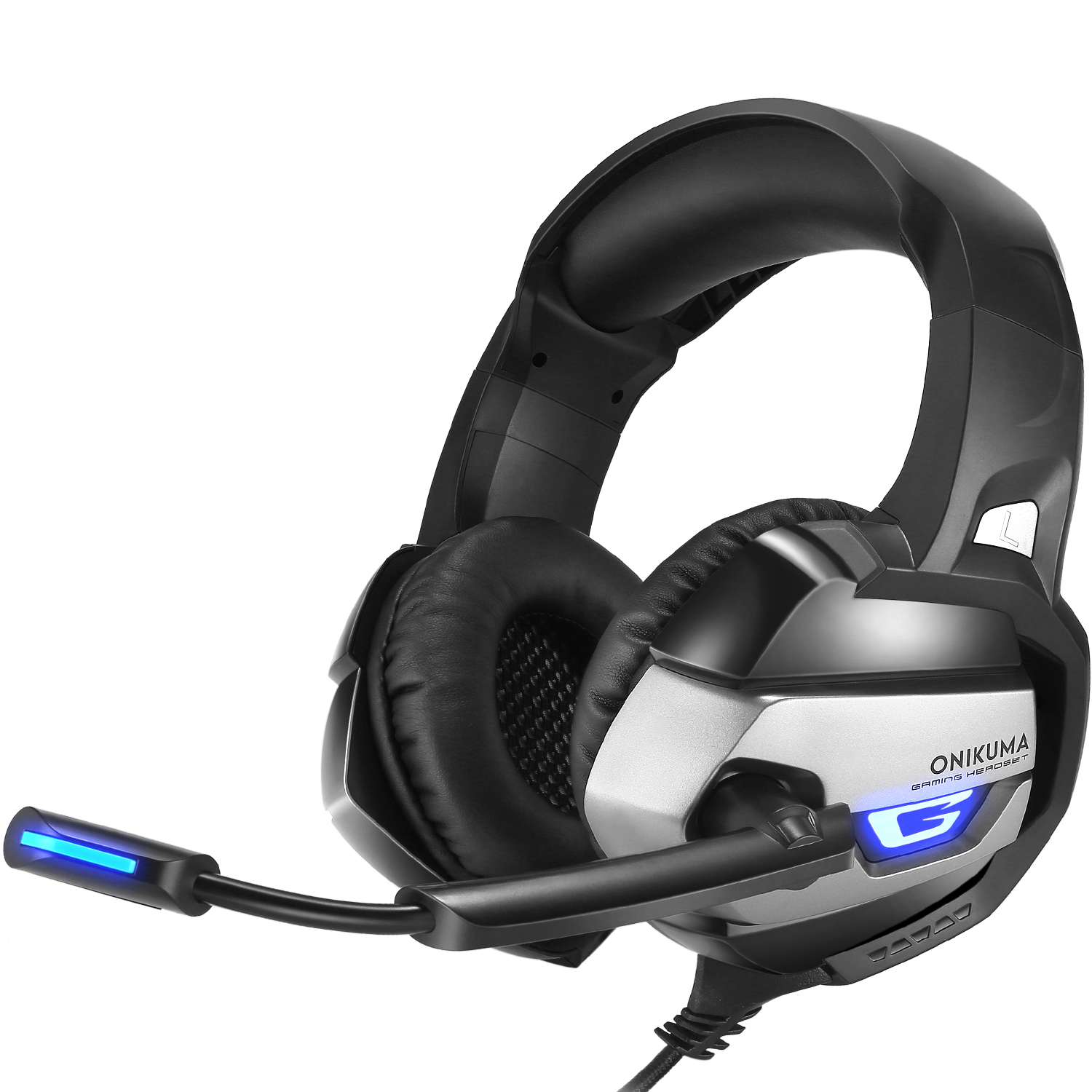 ONIKUMA Upgraded Gaming Headset for PS4, PC, Xbox One Controller Noise Cancelling Microphone Over Ear Headphones Surround Sound Bass Soft Memory Earmuffs, LED Light