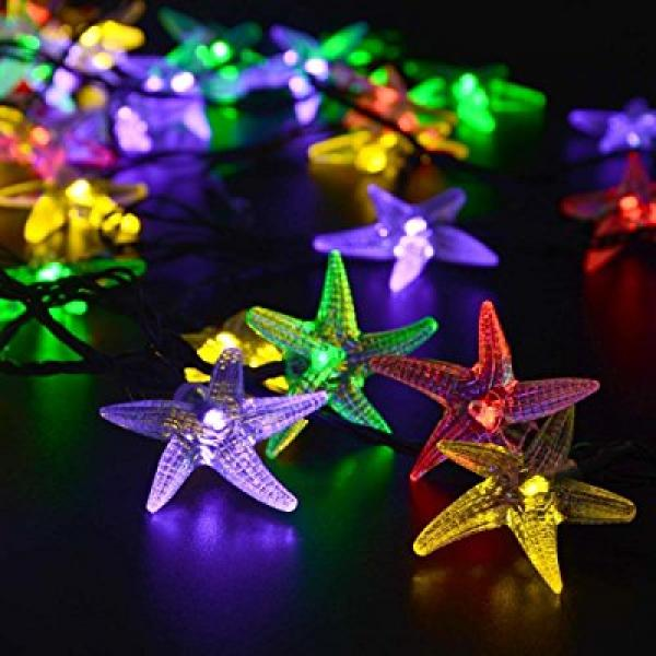 Tozz Pro ® Chrismas Halloween Starfish Battery Operated LED Fairy String Lights 20 Starfish Lights Chrismas Decoration Lights Can Flashing (Multi-Color Starfish)