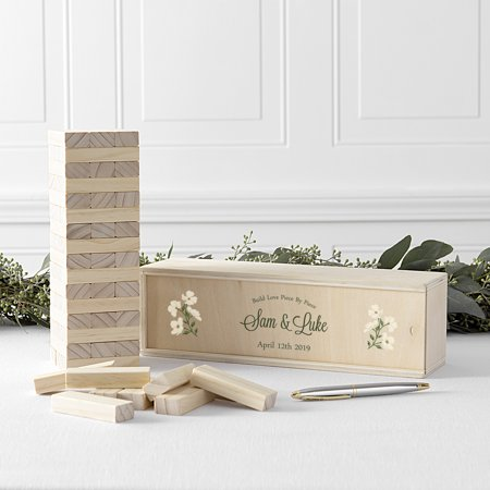 Personalized Floral Building Block Wedding Guestbook