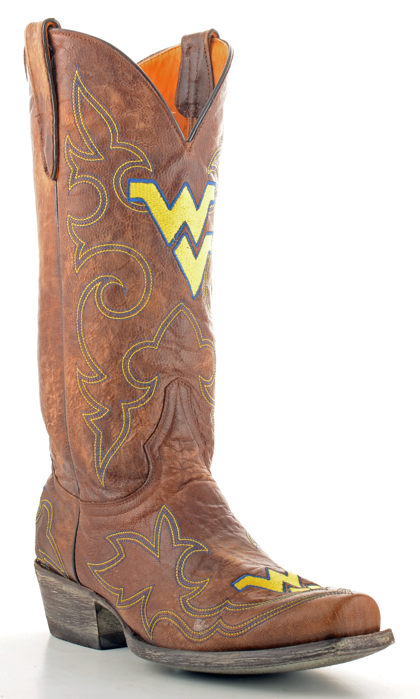 Gameday Boots Mens Brass Leather West Virginia Cowboy Boots (Size 11.5) New by GameDay Boots