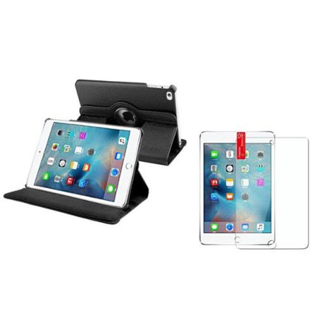 Insten Black 360 Degree Rotating Magnetic Leather Stand Cover Case For iPad Mini 4 (with Screen Protector)