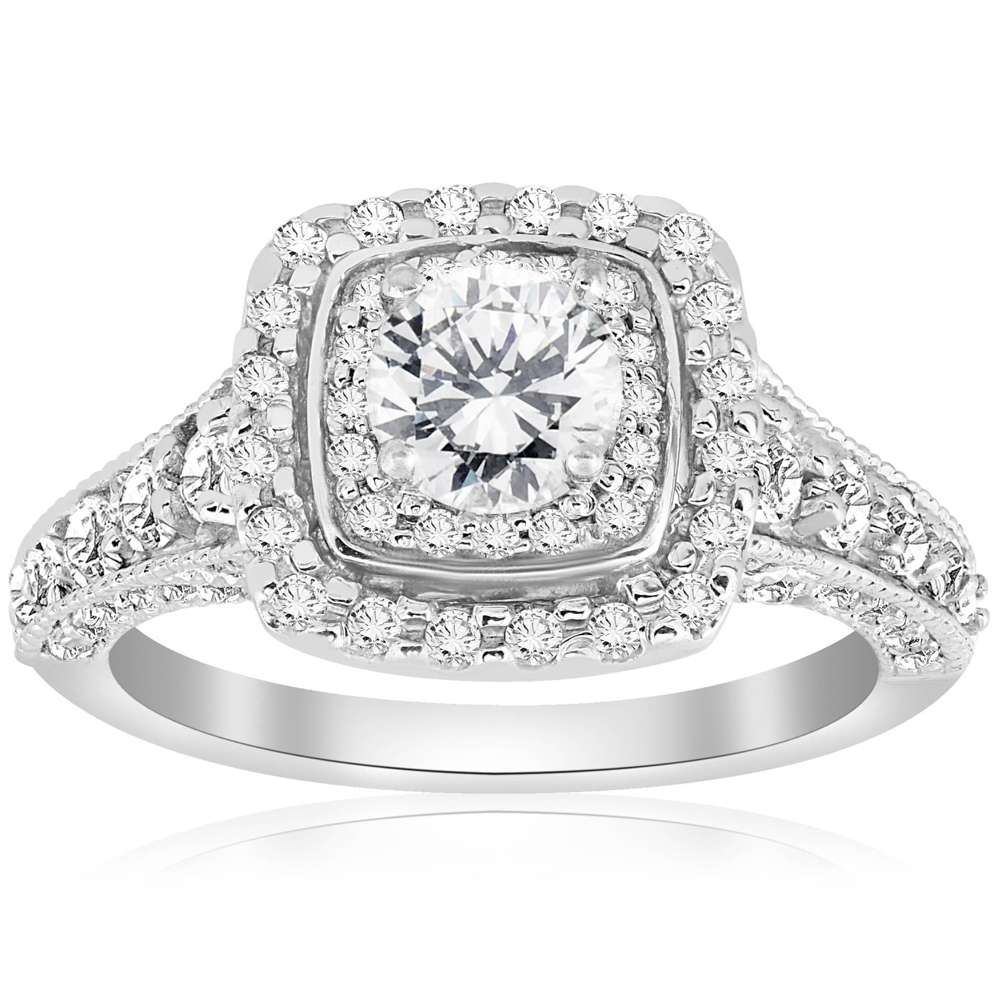 1 1 2ct Double Halo Cushion Vintage Diamond Engagement Ring 14K White Gold by Pompeii3
