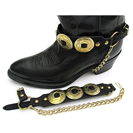 Western Boots Boot Chains Black Topgrain Cowhide Leather W Big Gold Star Conchos