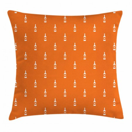 Alcohol Throw Pillow Cushion Cover, Simplistic Abstract Silhouette Vodka Bottles Pattern in Repeating Order Image, Decorative Square Accent Pillow Case, 18 X 18 Inches, Orange White, by Ambesonne (Square One Vodka)
