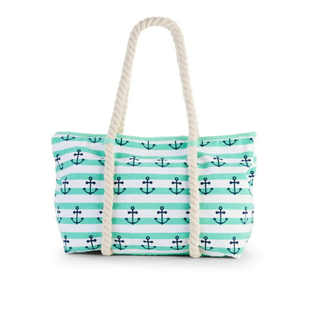 - No Boundaries Mint Anchor Rope Tote