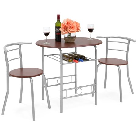 Best Choice Products 3-Piece Wooden Kitchen Dining Room Round Table and Chair Set with Built-In Wine Rack, Espresso ()