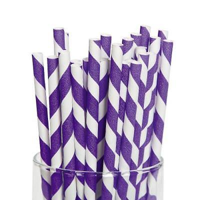 IN-13617386 Purple Striped Paper Straws 24 Piece(s)
