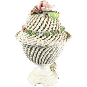 Vintage Hand-Painted Italian Capo-Style Ceramic Twisted Rope Lidded Flowers Bowl