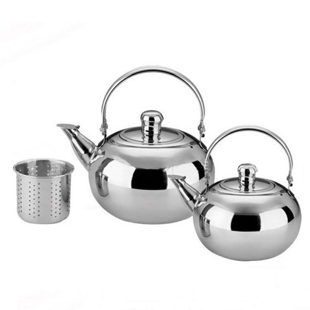 Stainless Steel Teapot Coffee Pot with Tea Leaf Infuser Filter 1.0/1.5/2.0/2.5L