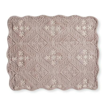 Faux Fur Pillow Sham with Gorgeous Intricate Diamond Pattern, Raised Soft Texture Decorative Accents, Sham, Mocha