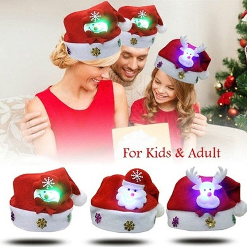 3PCS LED Christmas Hat Cartoon Santa Claus/Snowman/Reindeer Cap Funny Flashing Red Holiday Party Xmas Headwear Gifts for Kids Adults(L-Adults)