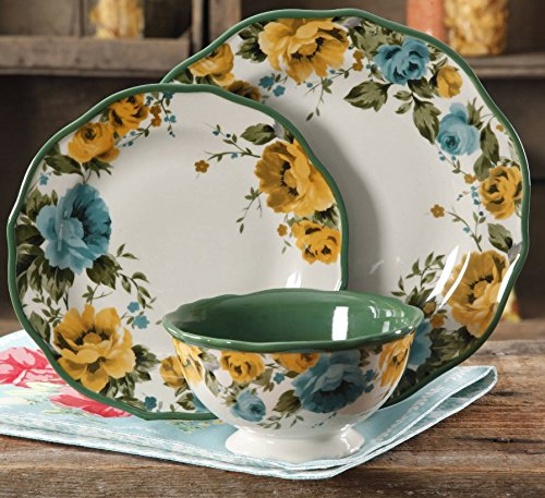"""Rose Shadow 12-Piece Dinnerware Set (4 Dinner Plates, 4 Salad Plates, 4 Bowls), 10.5"""" dinner plates By The Pioneer Woman"""