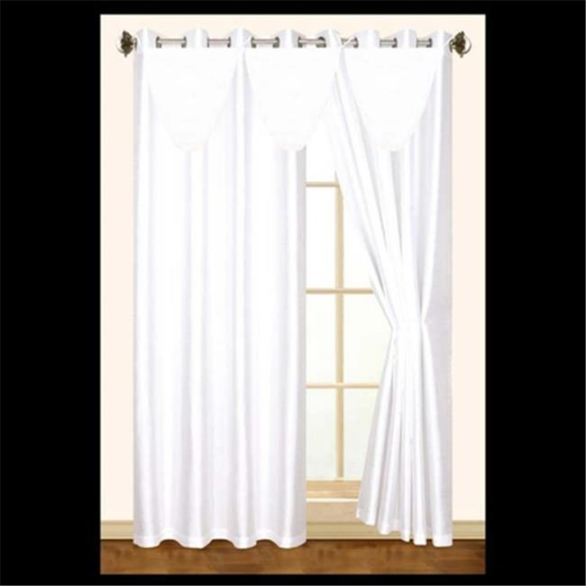 Editex 627VAL3702 Elaine Waterfall Faux Silk Valance with 2 Grommets without Trim in White