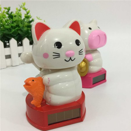 Creative Solar Powered Shaking Head Lucky Cat Lucky Pig Toy Home Car Decoration Specification:Fish cats Size:7 * 7 * -