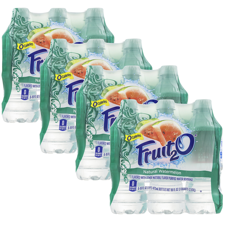 (4 Pack) Fruit2O Flavored Water Beverage Natural Watermelon - 6 CT