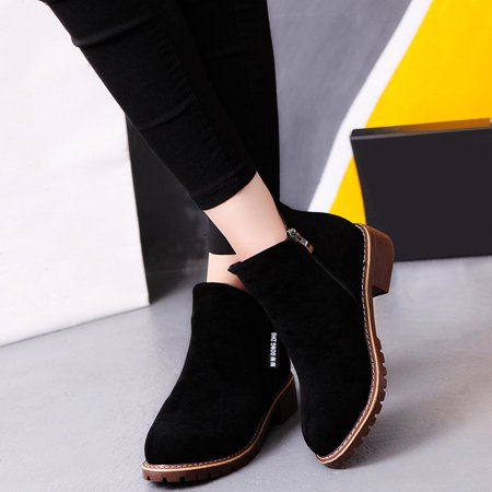 Women Ankle Boots Short Martin Boots Chunky Heels Boots Female Fashion Shoes - image 5 of 10