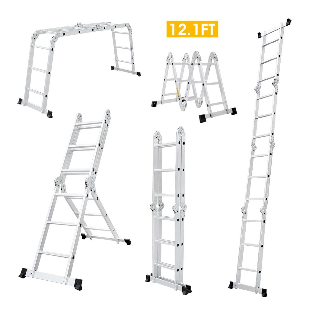 Finether 12.1 ft EN131 Heavy Duty Folding Step Ladder Wit...