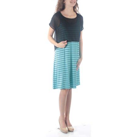 KENSIE Womens Blue Multi Wear Striped Sleeveless Scoop Neck Above The Knee Shift Dress  Size: XS Multi Blue Dress