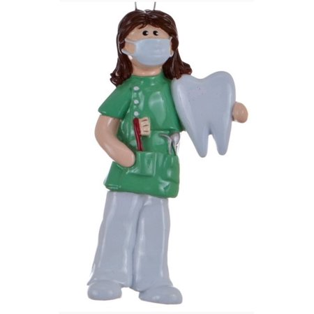 Dentist Woman in Green Scrubs with Tooth Christmas Ornament Tree Decoration - Woman In Light