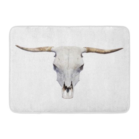 - GODPOK Animal White Cow Bull Skull Top View Longhorn Horn Rug Doormat Bath Mat 23.6x15.7 inch