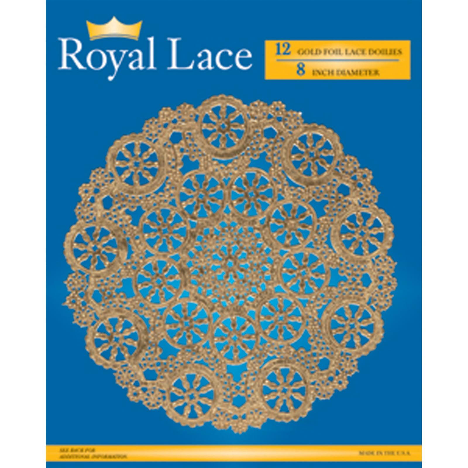"""Royal Lace Foil Lace Round Doilies, Gold, 8"""" - 12 ct"""