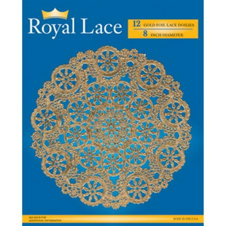 Royal Lace Foil Lace Round Doilies  Gold  8    12 Ct