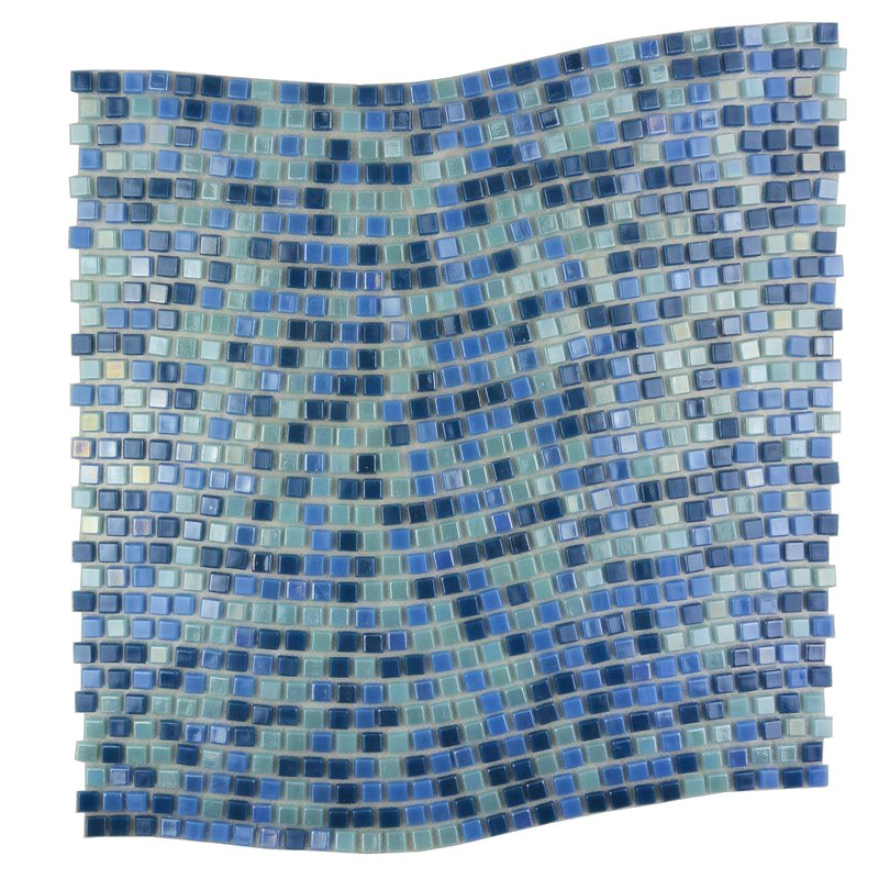 "Abolos- Galaxy Wavy 0.31"" x 0.31"" Glass Mosaic Tile in Glazed Blue (10sqft / 10pc Box)"