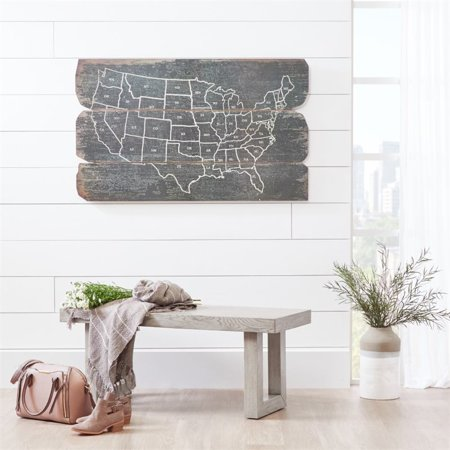 Home Fare Modern Wooden Bench in Weathered Grey - image 2 of 5