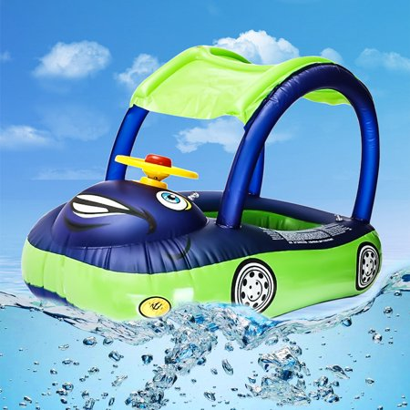 Inflatable Swimming Pool Baby Kids Float Seat Boat Car Swim Ring Steering Wheel & Sunshade Toys Outdoor Play (Random Blue Color)