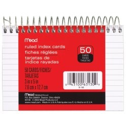 """Mead WireBound Ruled Index Cards White 3"""" x 5"""""""