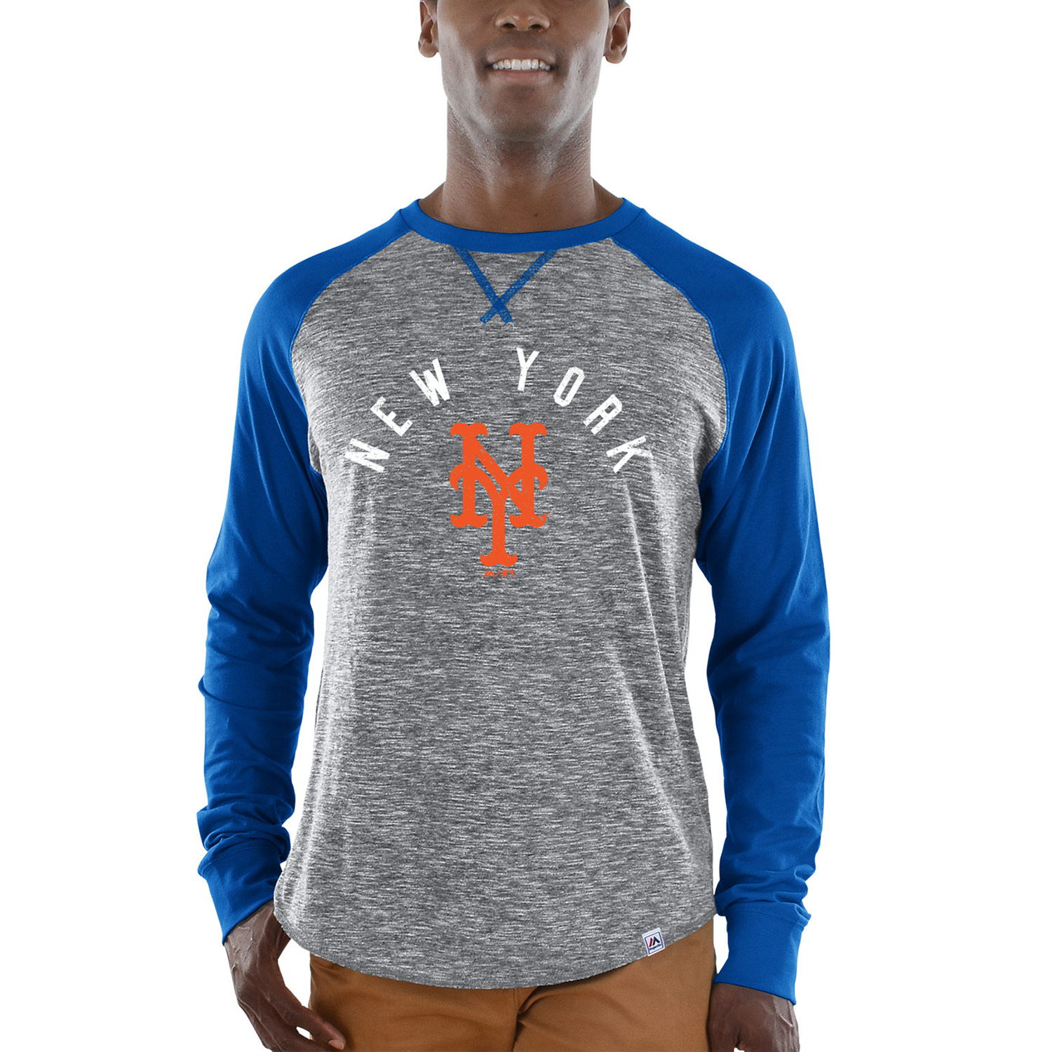 New York Mets Majestic Special Move Long Sleeve T-Shirt - Gray/Royal