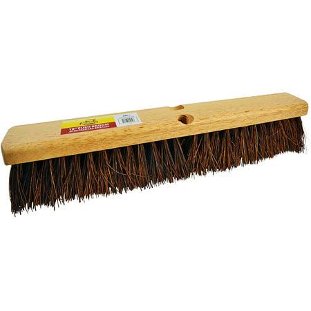 "Bristles 18"" Outdoor Push Broom Head – Heavy Duty Hardwood Block, Rough Surface Stiff Palmyra Fibers, Model #4218 Heavy Duty Rough"