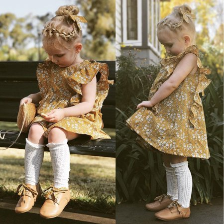 Flower Girl Princess Dress Kids Baby Party Pageant Dresses Ginger Yellow Clothes