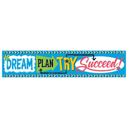 DREAM PLAN TRY - BOLD STROKES 5FT QUOTABLE EXPRESSION (Quotable Expressions Wall Banner)