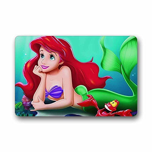 DEYOU Cartoon The Little Mermaid Doormat Outdoor Indoor Floor Mats Non-Slip Bathroom Mats Size 23.6x15.7 Inch
