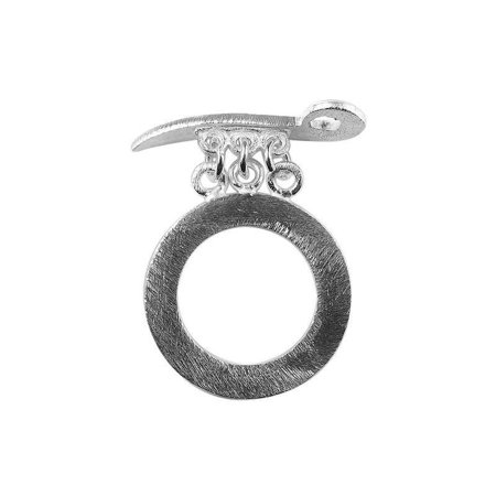 Silver Sword Hawaii - TSF-182 Silver Overlay Simple Round Shape Brushed Chip Ring & Sword Shap Bar Toggle 26MM