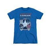DC Comics Justice League 4 Stars Flash Batman Superman Adult Ringer T-Shirt Tee