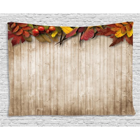 Fall Decor Tapestry, Autumn Leaves and Berries Border on Vintage Wooden Background Botanical Vivid, Wall Hanging for Bedroom Living Room Dorm Decor, 60W X 40L Inches, Multicolor, by (Botanical Berry)