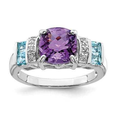 Sterling Silver 2 MM Amethyst, Light Swiss Blue Topaz and Diamond Ring, Size 7](Light Blue Diamond)