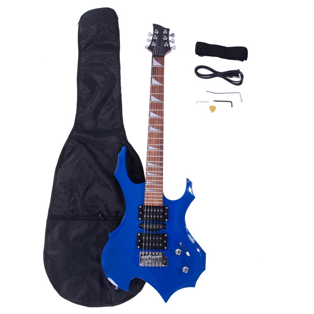 Ktaxon Flame Type Electric Guitar + Gigbag + Strap + Cord + Pick + Tremolo Bar