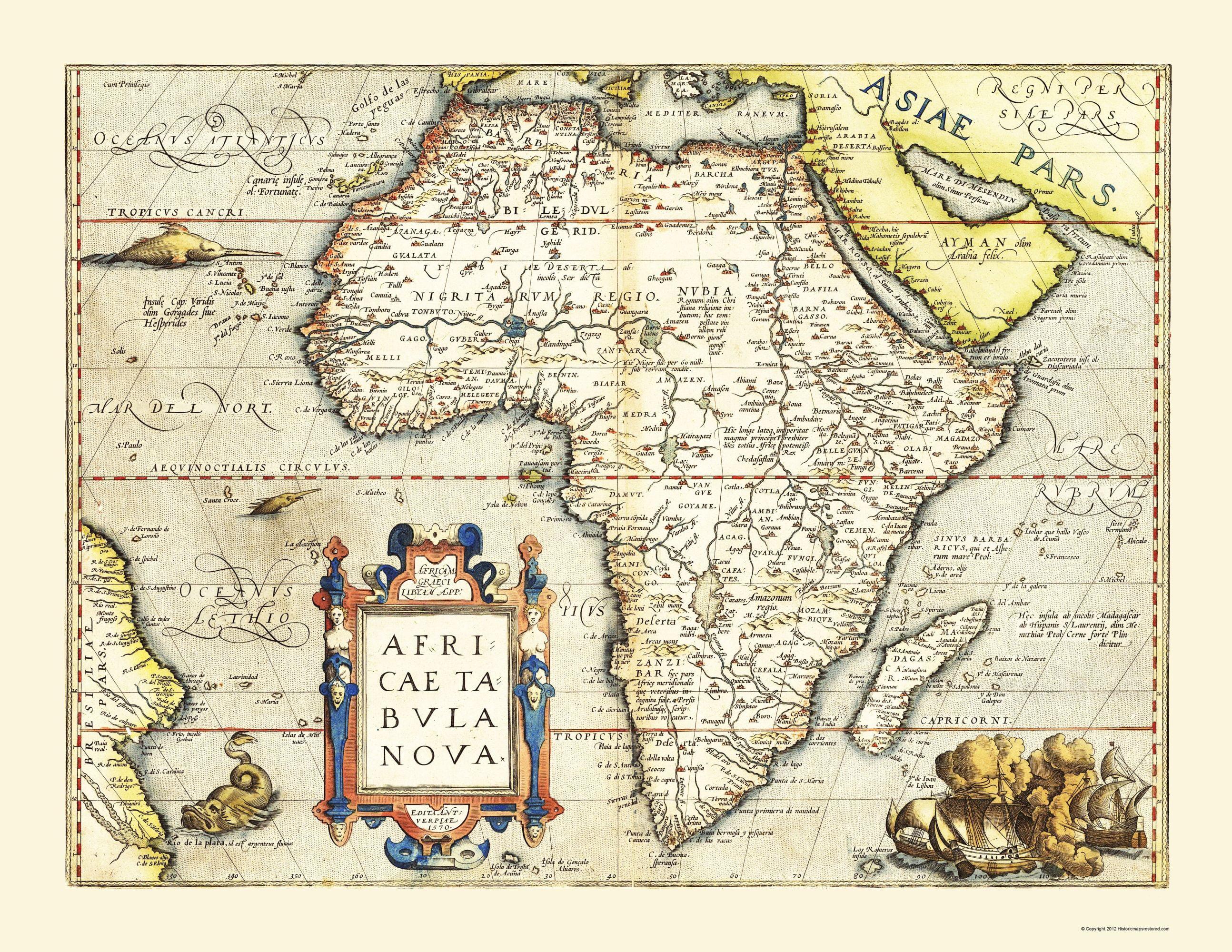 Africa Ortelius 1570-23 x 29.76