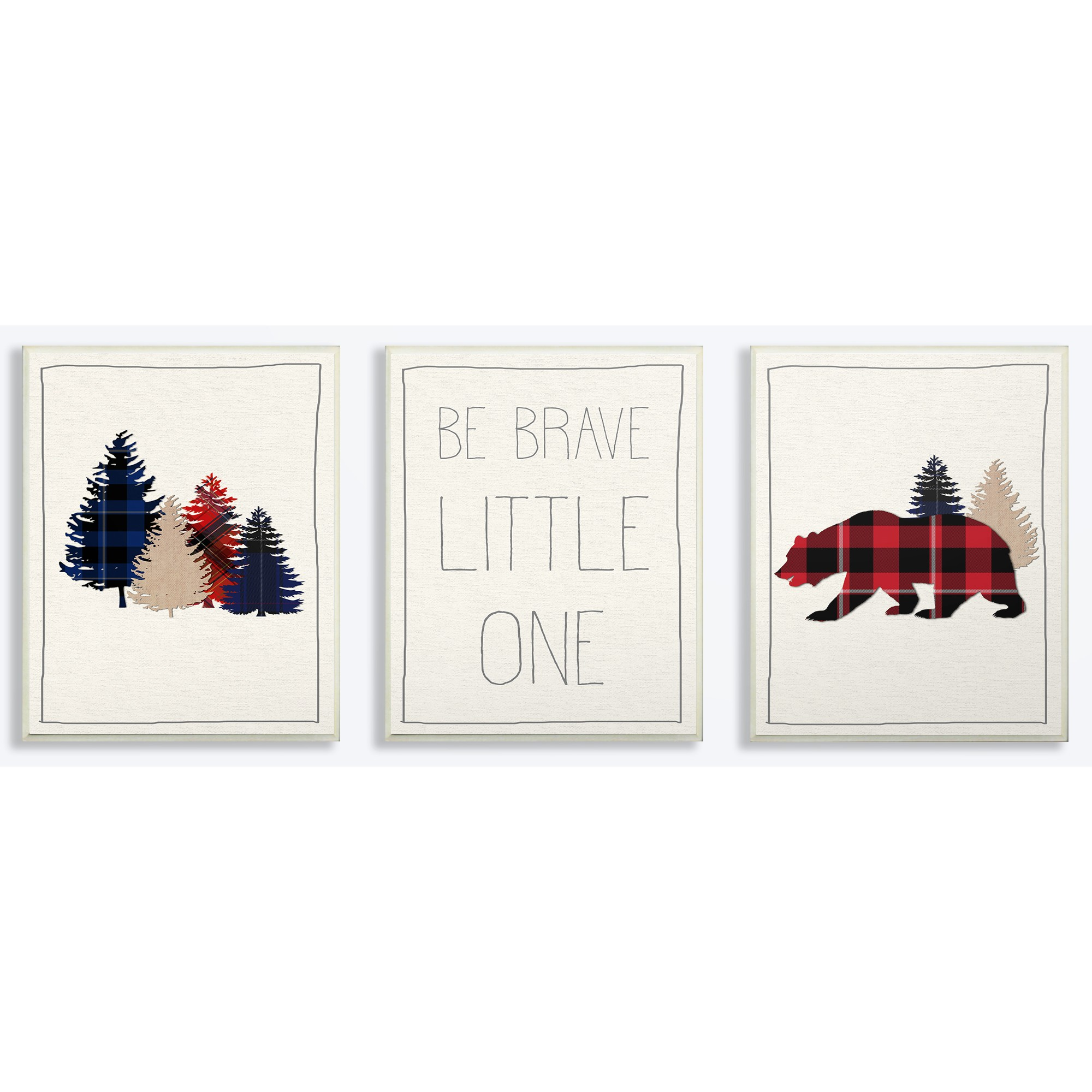 The Kids Room by Stupell Be Brave Little One Plaid Trees And Bear 3pc Wall Plaque Art Set, 3pc, each 10 x 0.5 x 15