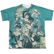 Jla - Bombshell Group (Front/Back Print) - Youth Short Sleeve Shirt - Large
