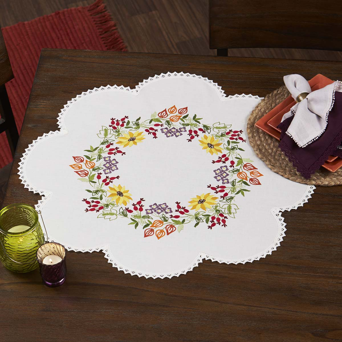 Herrschners® Colorful Flower Wreath Table Topper Stamped Embroidery Kit